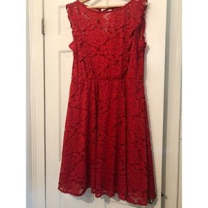 Gorgeous fiery red lace dress